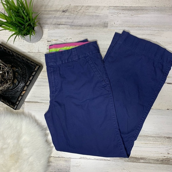 Lilly Pulitzer Pants - Lilly Pulitzer cotton pants size 6 wide leg blue
